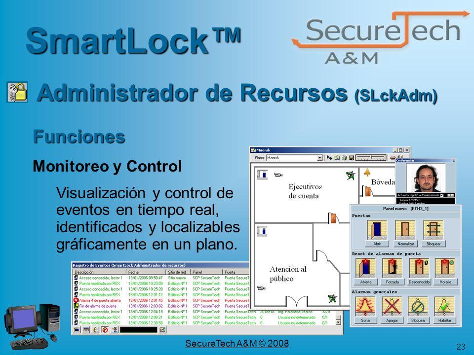 23 SecureTech A&M © 2008 SmartLock Funciones Monitoreo y Control Visualización y control de eventos en tiempo real, identificados y localizables gráfi