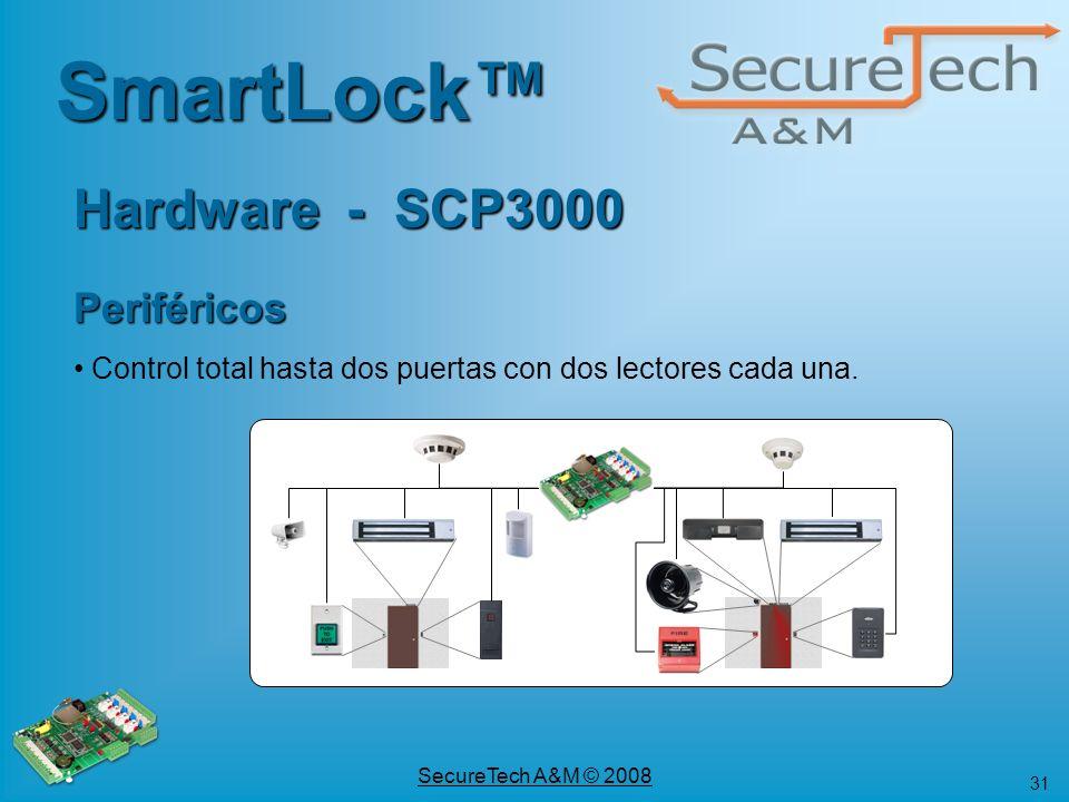 31 SecureTech A&M © 2008 Hardware - SCP3000 SmartLock Periféricos Control total hasta dos puertas con dos lectores cada una.