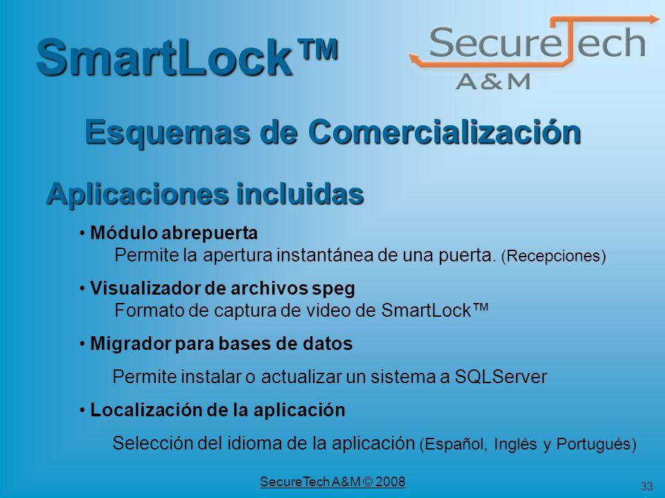 33 SecureTech A&M © 2008 SmartLock Esquemas de Comercialización Aplicaciones incluidas Módulo abrepuerta Permite la apertura instantánea de una puerta