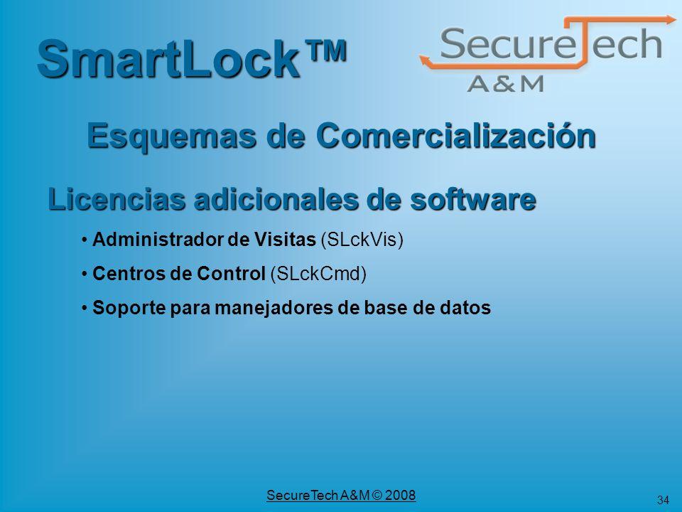 34 SecureTech A&M © 2008 SmartLock Esquemas de Comercialización Licencias adicionales de software Administrador de Visitas (SLckVis) Centros de Contro