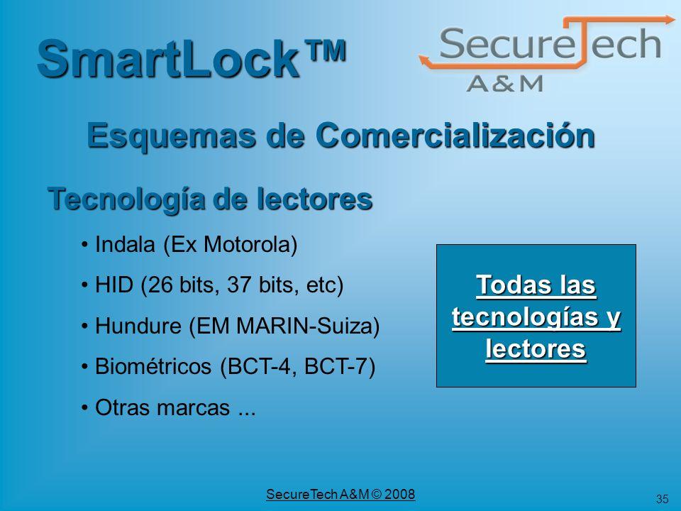 35 SecureTech A&M © 2008 Tecnología de lectores Indala (Ex Motorola) HID (26 bits, 37 bits, etc) Hundure (EM MARIN-Suiza) Biométricos (BCT-4, BCT-7) O