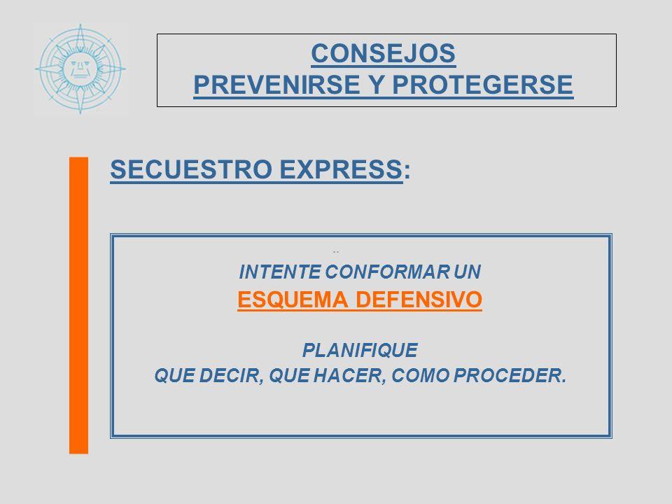 SECUESTRO EXPRESS: INTENTE CONFORMAR UN ESQUEMA DEFENSIVO PLANIFIQUE QUE DECIR, QUE HACER, COMO PROCEDER. CONSEJOS PREVENIRSE Y PROTEGERSE