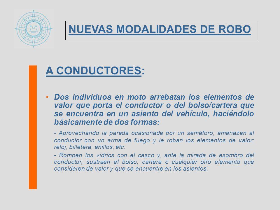 A CONDUCTORES: LUGARES DONDE LOS DELITOS QUE SE COMETEN SON REPETITIVOS Y DE SIMILARES CARACTERISTICAS CAPITAL FEDERAL: - ROTONDA de Av.