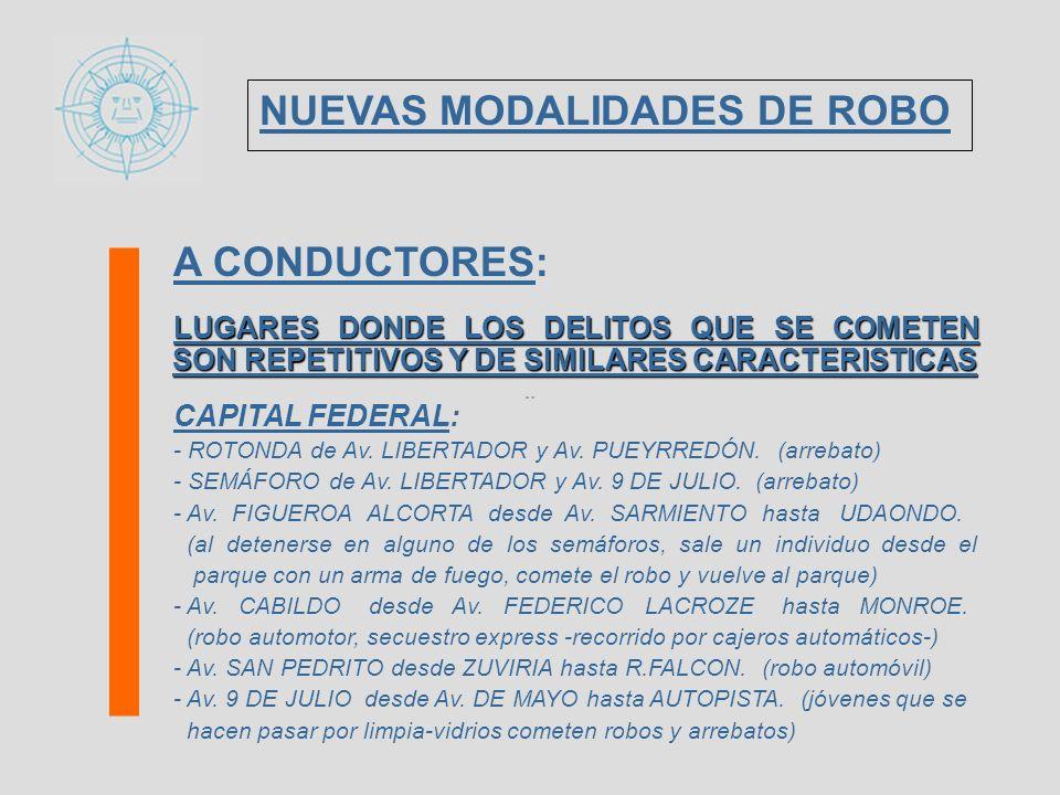 A CONDUCTORES: LUGARES DONDE LOS DELITOS QUE SE COMETEN SON REPETITIVOS Y DE SIMILARES CARACTERISTICAS CAPITAL FEDERAL: - ROTONDA de Av. LIBERTADOR y