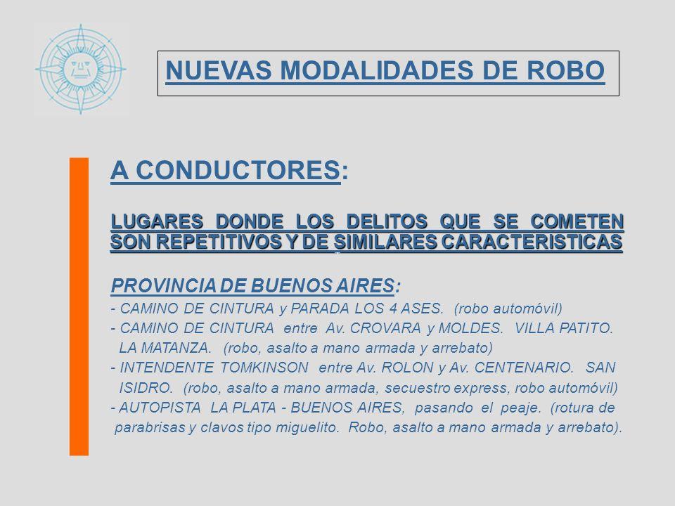 A CONDUCTORES: LUGARES DONDE LOS DELITOS QUE SE COMETEN SON REPETITIVOS Y DE SIMILARES CARACTERISTICAS PROVINCIA DE BUENOS AIRES: - CAMINO DE CINTURA