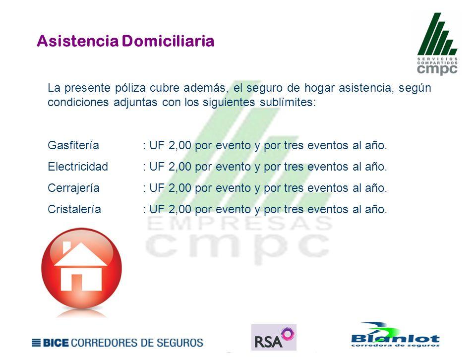 Asistencia Domiciliaria La presente póliza cubre además, el seguro de hogar asistencia, según condiciones adjuntas con los siguientes sublímites: Gasf