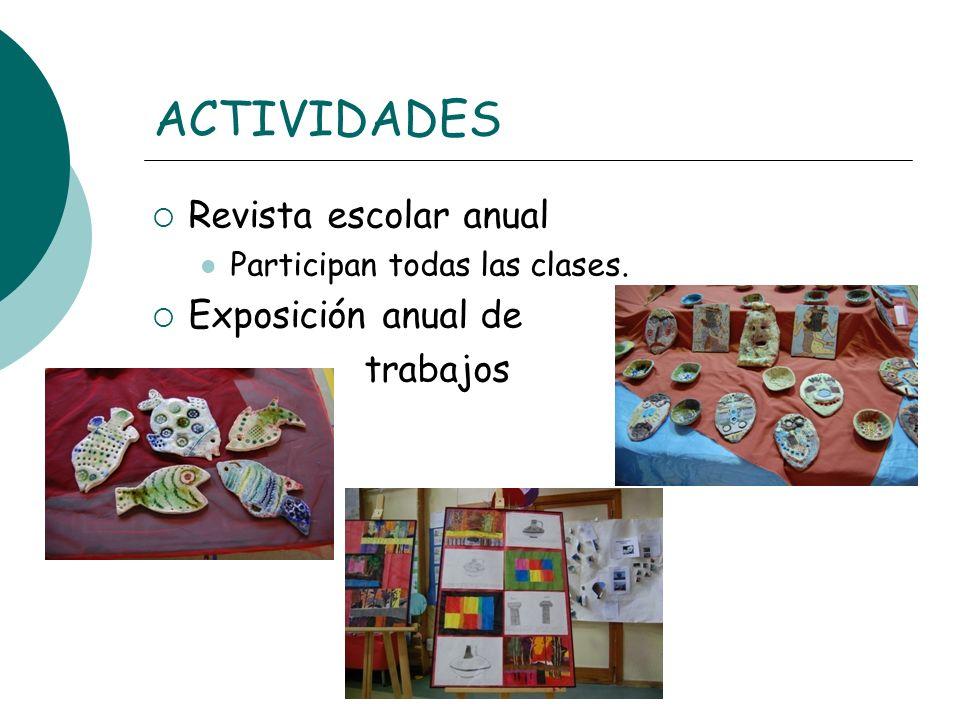 ACTIVIDADES Revista escolar anual Participan todas las clases. Exposición anual de trabajos