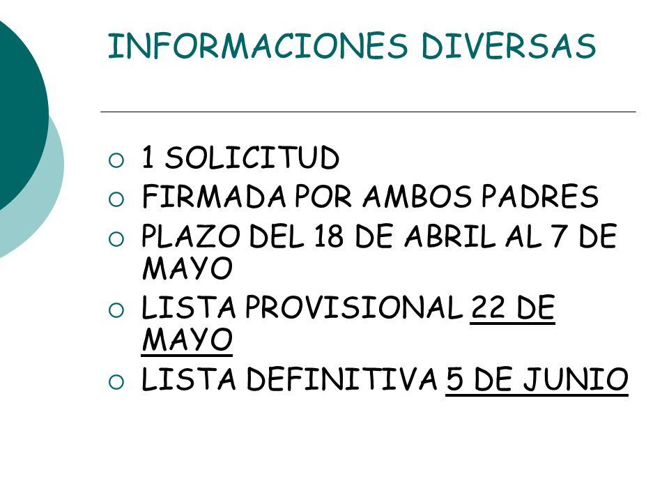 INFORMACIONES DIVERSAS 1 SOLICITUD FIRMADA POR AMBOS PADRES PLAZO DEL 18 DE ABRIL AL 7 DE MAYO LISTA PROVISIONAL 22 DE MAYO LISTA DEFINITIVA 5 DE JUNI