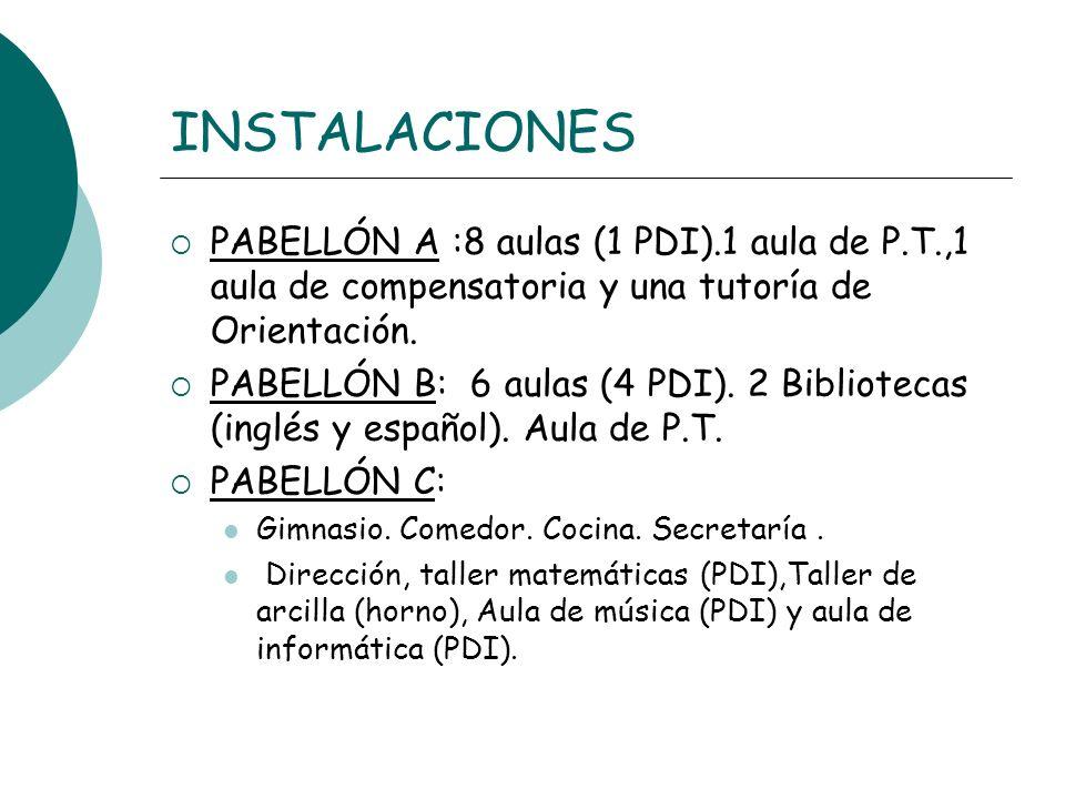 INSTALACIONES PABELLÓN A :8 aulas (1 PDI).1 aula de P.T.,1 aula de compensatoria y una tutoría de Orientación. PABELLÓN B: 6 aulas (4 PDI). 2 Bibliote
