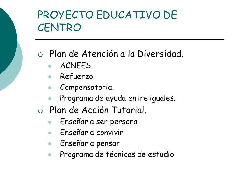 PROYECTO EDUCATIVO DE CENTRO Plan de Atención a la Diversidad. ACNEES. Refuerzo. Compensatoria. Programa de ayuda entre iguales. Plan de Acción Tutori