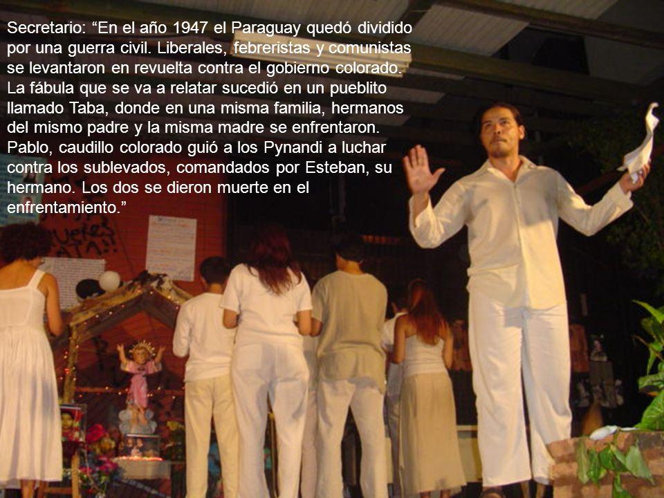 Secretario: En el año 1947 el Paraguay quedó dividido por una guerra civil. Liberales, febreristas y comunistas se levantaron en revuelta contra el go