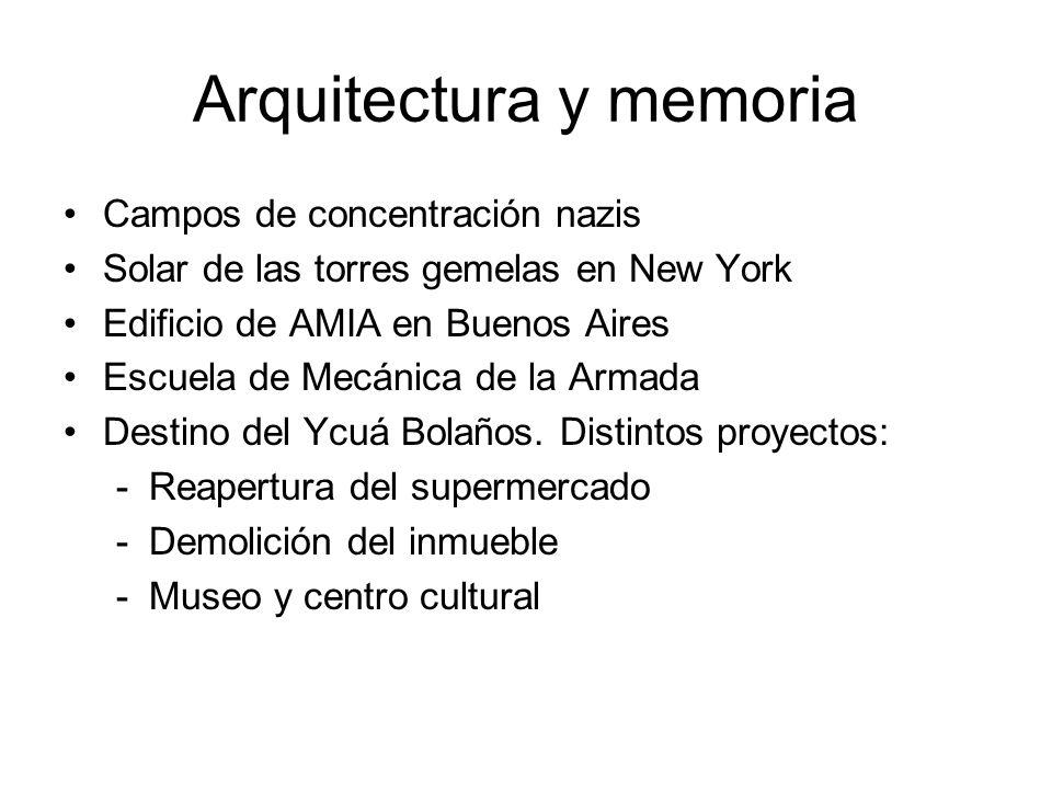 Arquitectura y memoria Campos de concentración nazis Solar de las torres gemelas en New York Edificio de AMIA en Buenos Aires Escuela de Mecánica de la Armada Destino del Ycuá Bolaños.