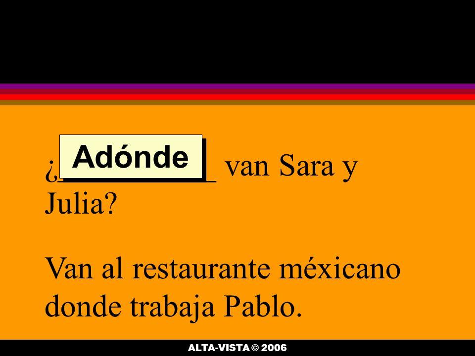 ¿__________ van Sara y Julia. Van al restaurante méxicano donde trabaja Pablo.