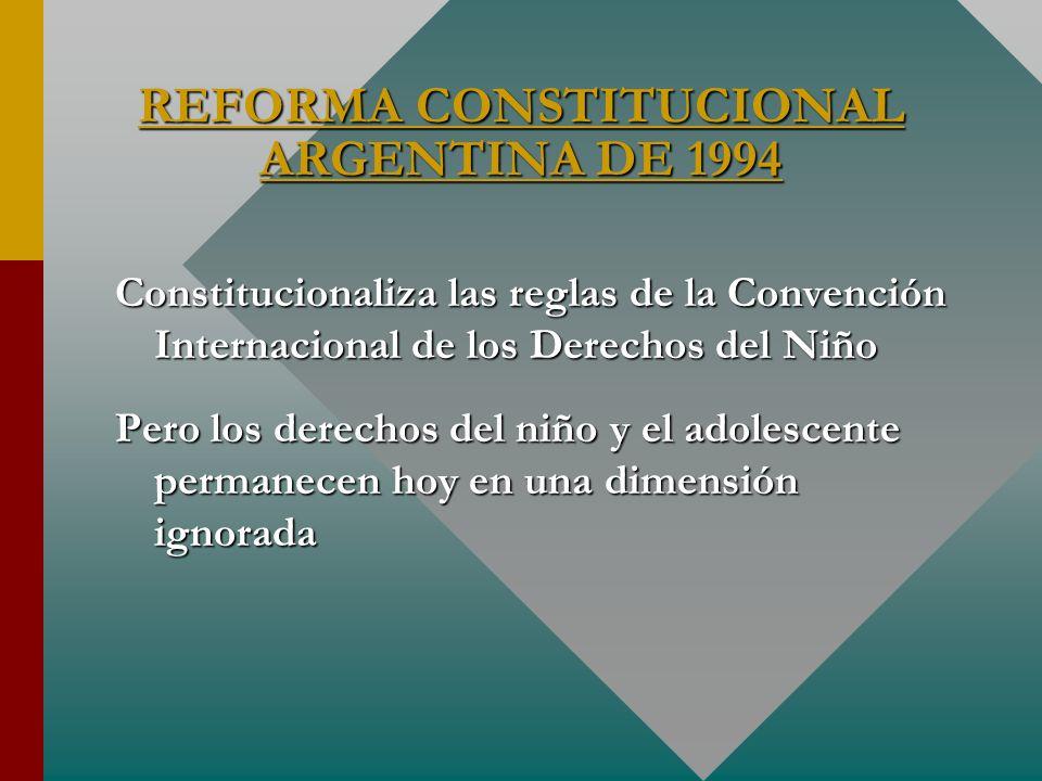 REFORMA CONSTITUCIONAL ARGENTINA DE 1994 Constitucionaliza las reglas de la Convención Internacional de los Derechos del Niño Pero los derechos del ni