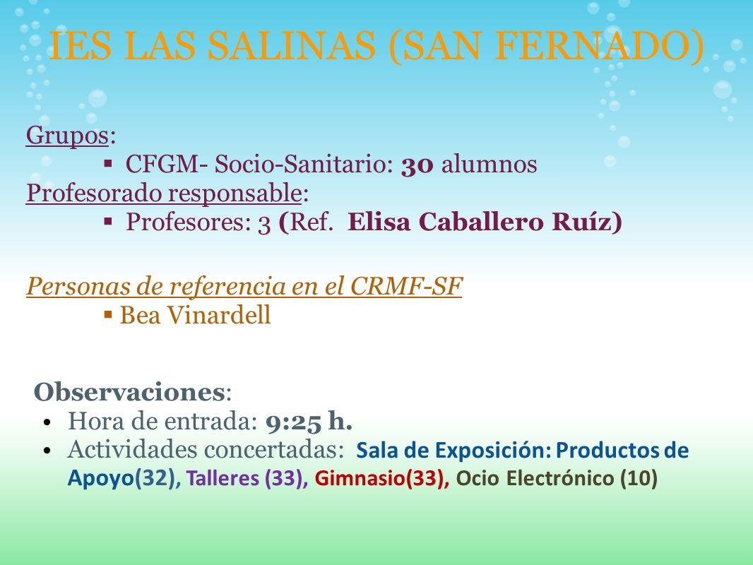 IES LAS SALINAS (SAN FERNADO) Grupos: CFGM- Socio-Sanitario: 30 alumnos Profesorado responsable: Profesores: 3 (Ref. Elisa Caballero Ruíz) Personas de