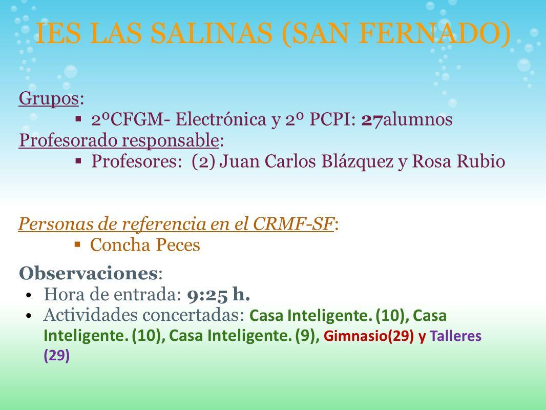 IES LAS SALINAS (SAN FERNADO) Grupos: 2ºCFGM- Electrónica y 2º PCPI: 27alumnos Profesorado responsable: Profesores: (2) Juan Carlos Blázquez y Rosa Ru