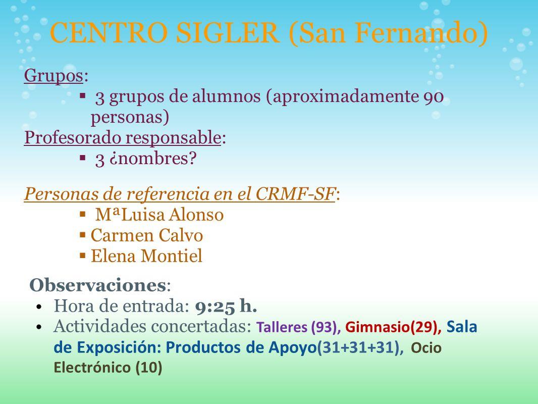 CENTRO SIGLER (San Fernando) Grupos: 3 grupos de alumnos (aproximadamente 90 personas) Profesorado responsable: 3 ¿nombres? Personas de referencia en