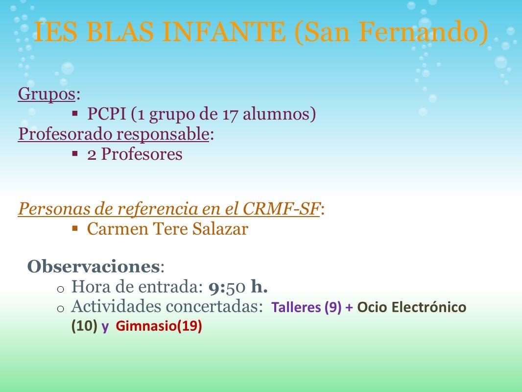 IES BLAS INFANTE (San Fernando) Grupos: PCPI (1 grupo de 17 alumnos) Profesorado responsable: 2 Profesores Personas de referencia en el CRMF-SF: Carme