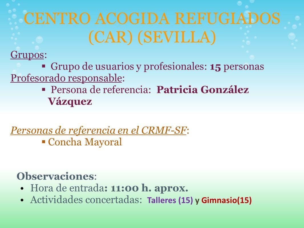 CENTRO ACOGIDA REFUGIADOS (CAR) (SEVILLA) Grupos: Grupo de usuarios y profesionales: 15 personas Profesorado responsable: Persona de referencia: Patri