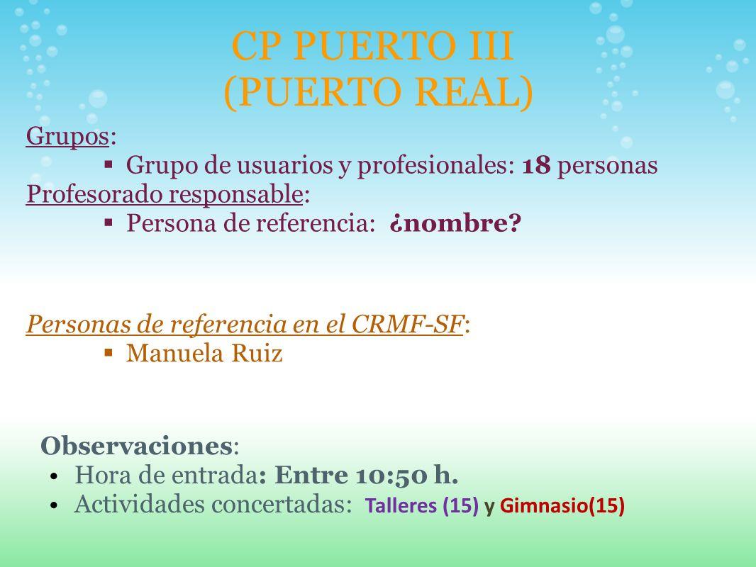 CP PUERTO III (PUERTO REAL) Grupos: Grupo de usuarios y profesionales: 18 personas Profesorado responsable: Persona de referencia: ¿nombre? Personas d