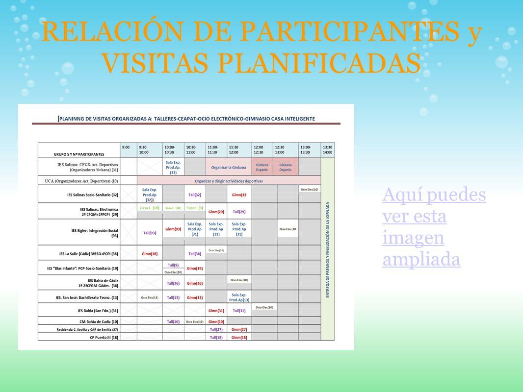 RELACIÓN DE PARTICIPANTES y VISITAS PLANIFICADAS Aquí puedes ver esta imagen ampliada