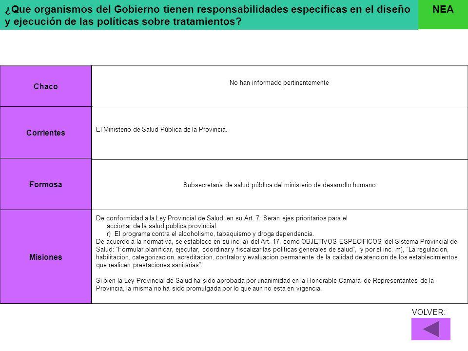 ¿Que organismos del Gobierno tienen responsabilidades específicas en el diseño y ejecución de las políticas sobre tratamientos? NEA Chaco Corrientes F