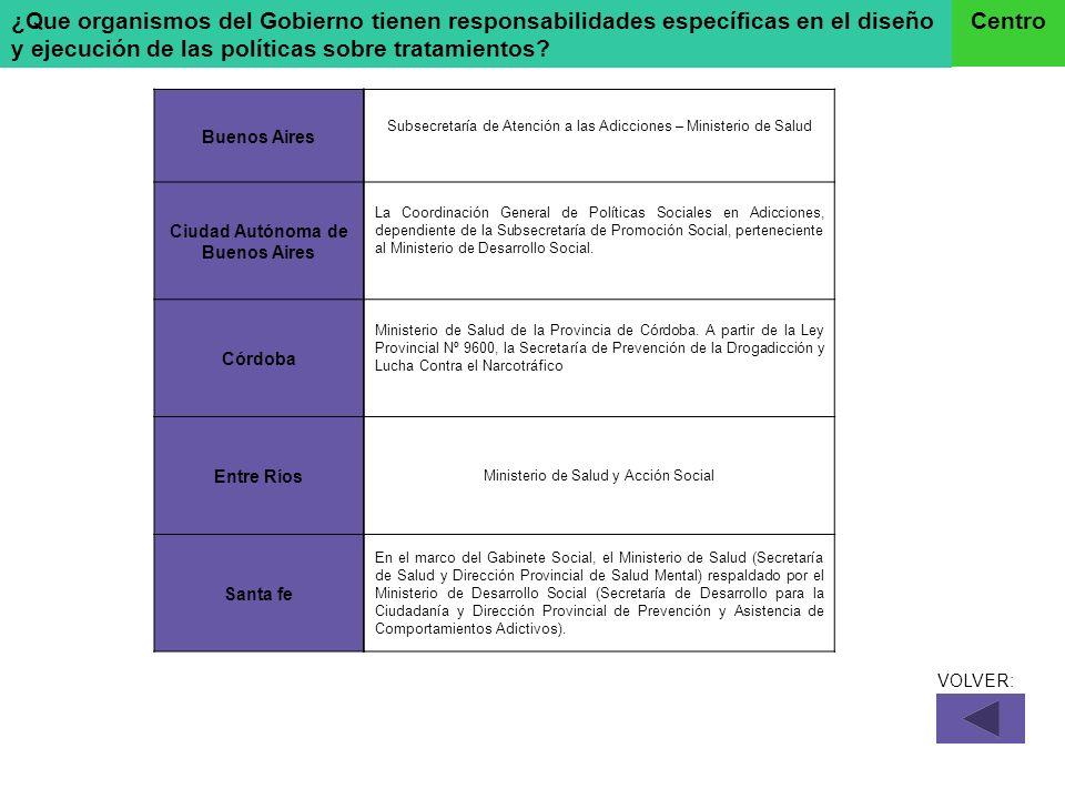 ¿Que organismos del Gobierno tienen responsabilidades específicas en el diseño y ejecución de las políticas sobre tratamientos? Centro Buenos Aires Ci