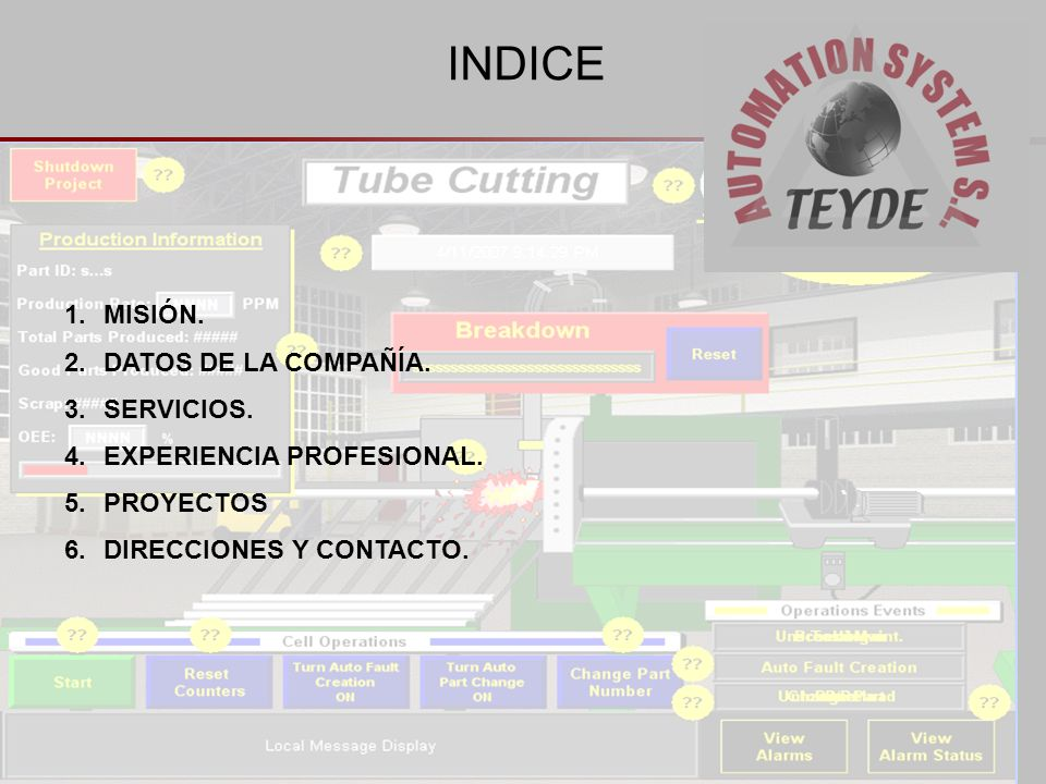 INDICE 1.MISIÓN. 2.DATOS DE LA COMPAÑÍA. 3.SERVICIOS. 4.EXPERIENCIA PROFESIONAL. 5.PROYECTOS 6.DIRECCIONES Y CONTACTO.