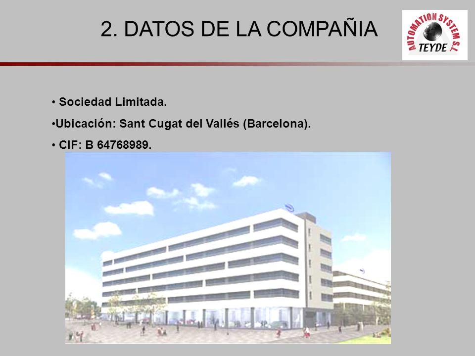 2. DATOS DE LA COMPAÑIA Sociedad Limitada. Ubicación: Sant Cugat del Vallés (Barcelona). CIF: B 64768989.