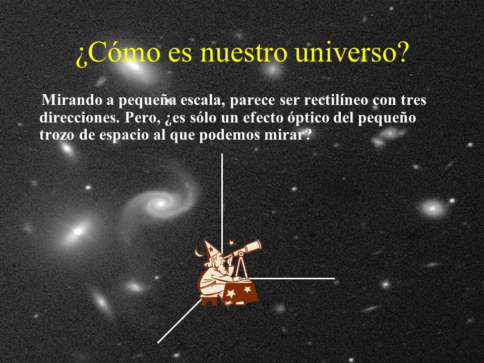 ¿Cómo es nuestro universo.Mirando a pequeña escala, parece ser rectilíneo con tres direcciones.