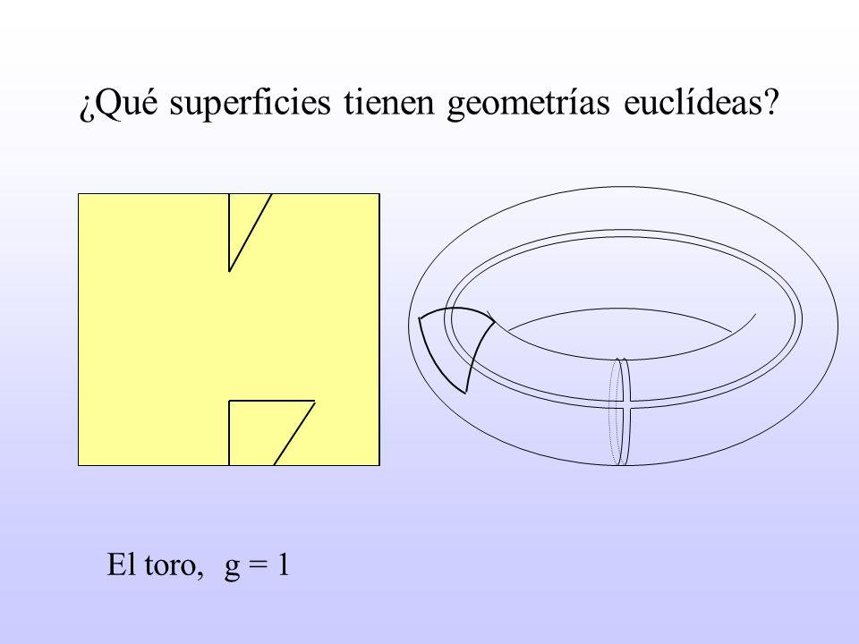 ¿Qué superficies tienen geometrías euclídeas? El toro, g = 1