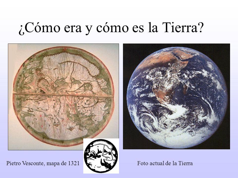 Pietro Vesconte, mapa de 1321 Foto actual de la Tierra ¿Cómo era y cómo es la Tierra?