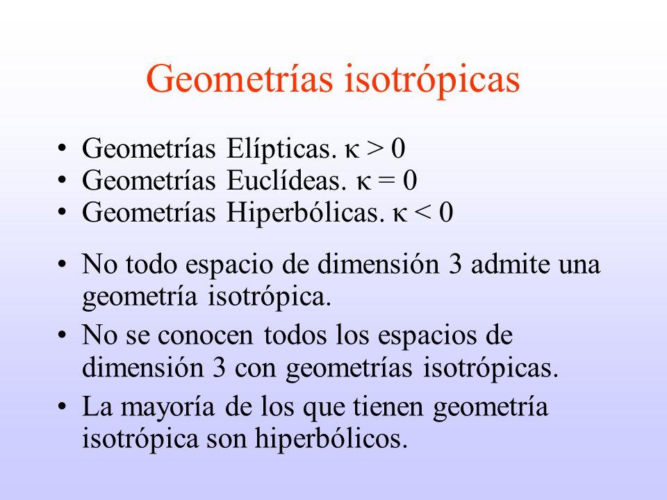 Geometrías isotrópicas No todo espacio de dimensión 3 admite una geometría isotrópica.