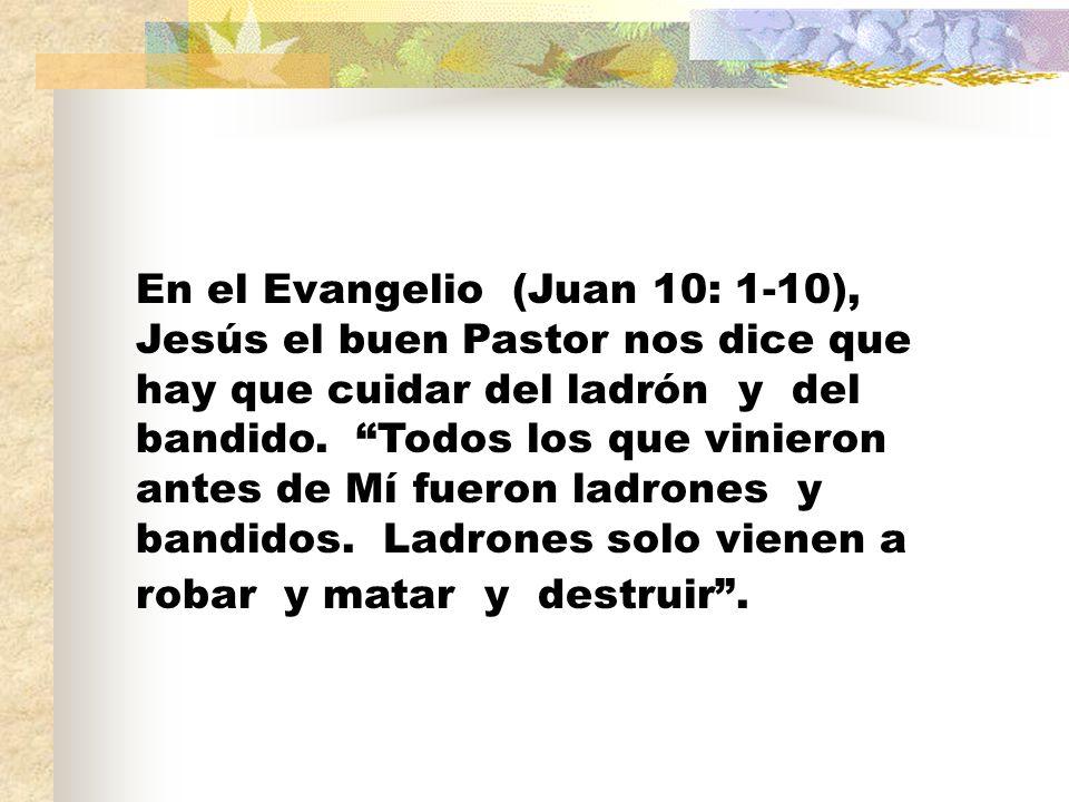 En el Evangelio (Juan 10: 1-10), Jesús el buen Pastor nos dice que hay que cuidar del ladrón y del bandido.