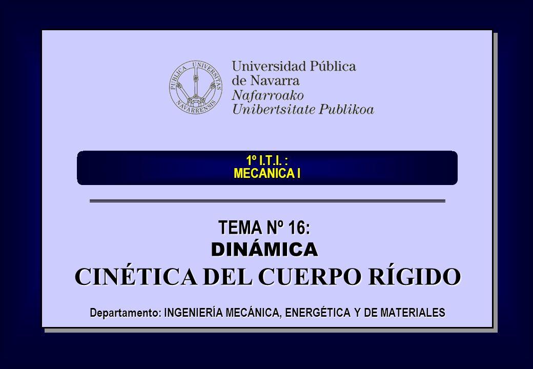1º I.T.I. : MECANICA I Departamento: INGENIERÍA MECÁNICA, ENERGÉTICA Y DE MATERIALES TEMA Nº 16: DINÁMICA CINÉTICA DEL CUERPO RÍGIDO CINÉTICA DEL CUER