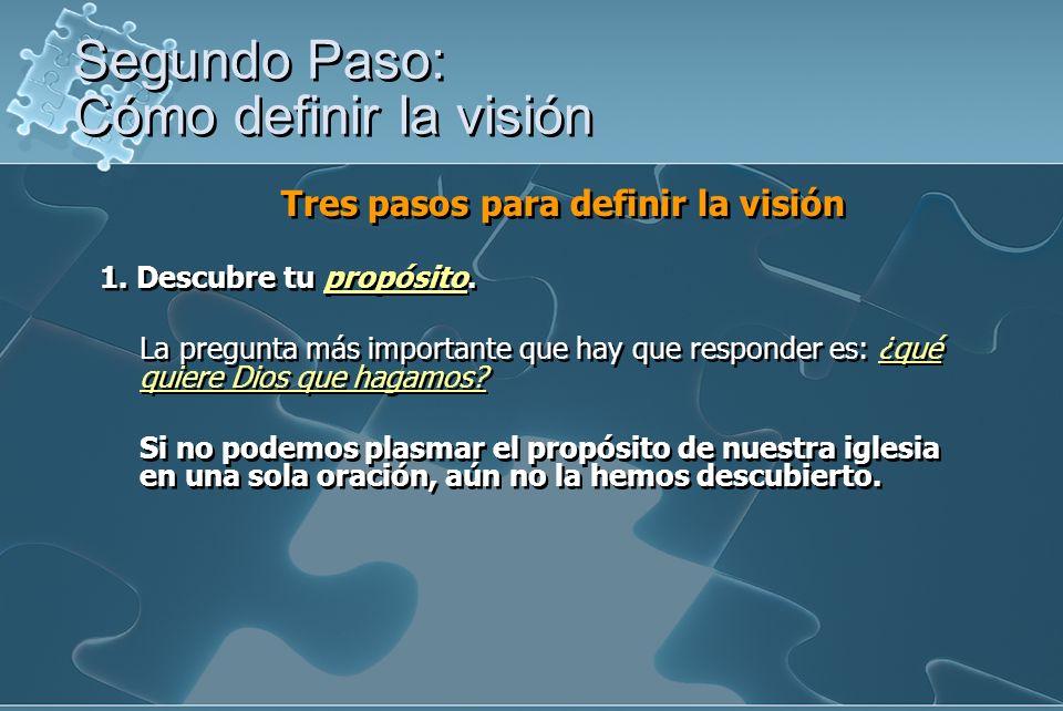 Tres pasos para definir la visión 1. Descubre tu propósito. La pregunta más importante que hay que responder es: ¿qué quiere Dios que hagamos? Si no p