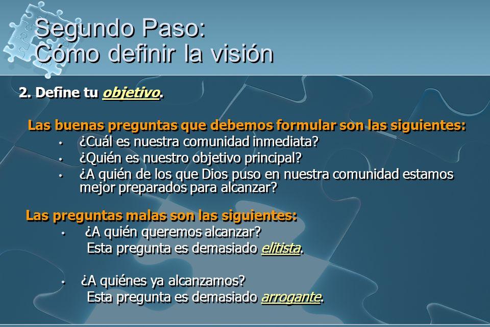 2. Define tu objetivo. Las buenas preguntas que debemos formular son las siguientes: ¿Cuál es nuestra comunidad inmediata? ¿Quién es nuestro objetivo