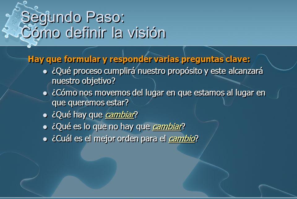 Hay que formular y responder varias preguntas clave: ¿Qué proceso cumplirá nuestro propósito y este alcanzará nuestro objetivo? ¿Cómo nos movemos del