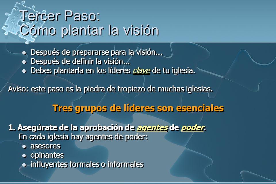 Después de prepararse para la visión... Después de definir la visión... Debes plantarla en los líderes clave de tu iglesia. Aviso: este paso es la pie