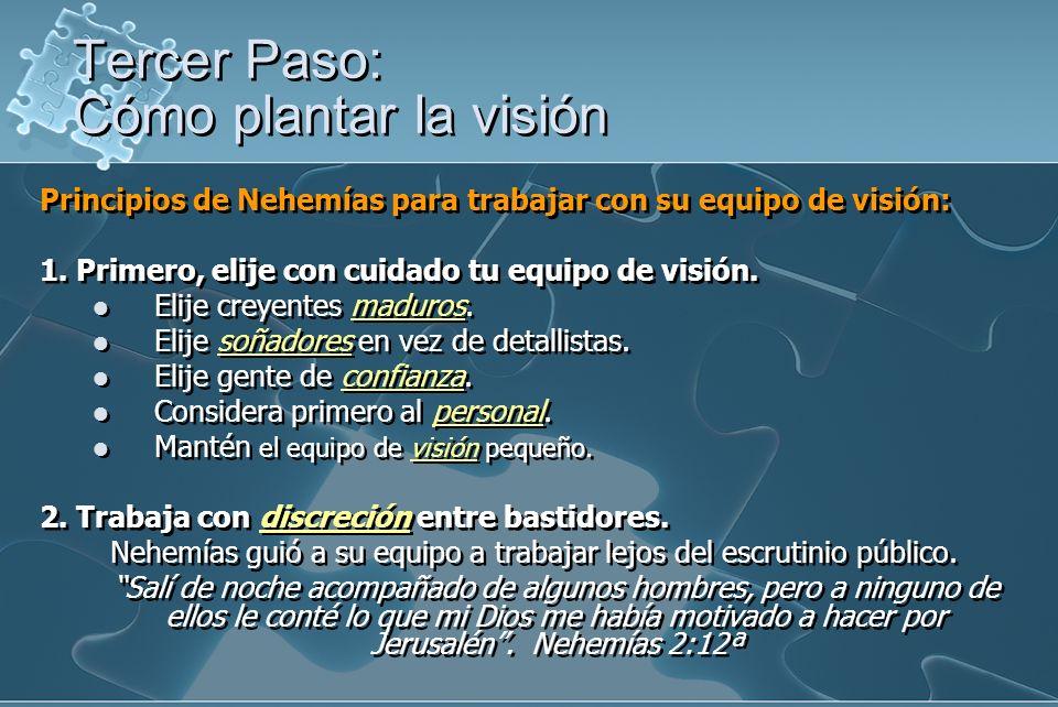 Principios de Nehemías para trabajar con su equipo de visión: 1. Primero, elije con cuidado tu equipo de visión. Elije creyentes maduros. Elije soñado