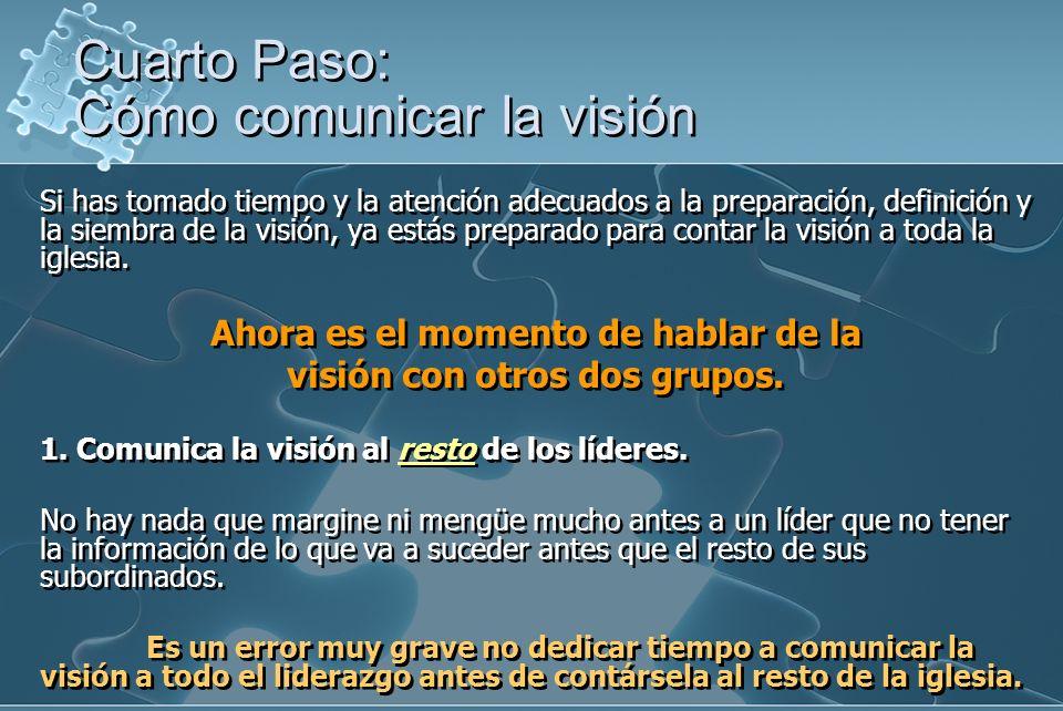 Si has tomado tiempo y la atención adecuados a la preparación, definición y la siembra de la visión, ya estás preparado para contar la visión a toda la iglesia.
