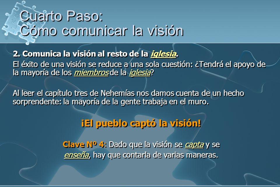 2. Comunica la visión al resto de la iglesia. El éxito de una visión se reduce a una sola cuestión: ¿Tendrá el apoyo de la mayoría de los miembros de