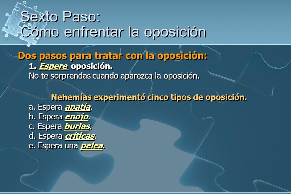 Dos pasos para tratar con la oposición: 1. Espere oposición. No te sorprendas cuando aparezca la oposición. Nehemías experimentó cinco tipos de oposic