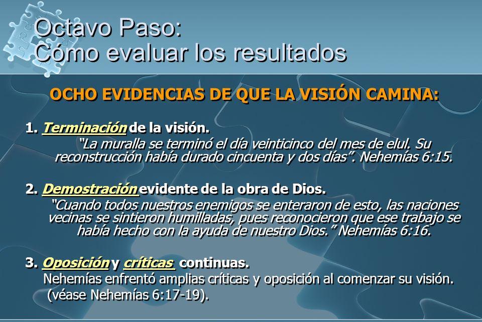 OCHO EVIDENCIAS DE QUE LA VISIÓN CAMINA: 1.Terminación de la visión.