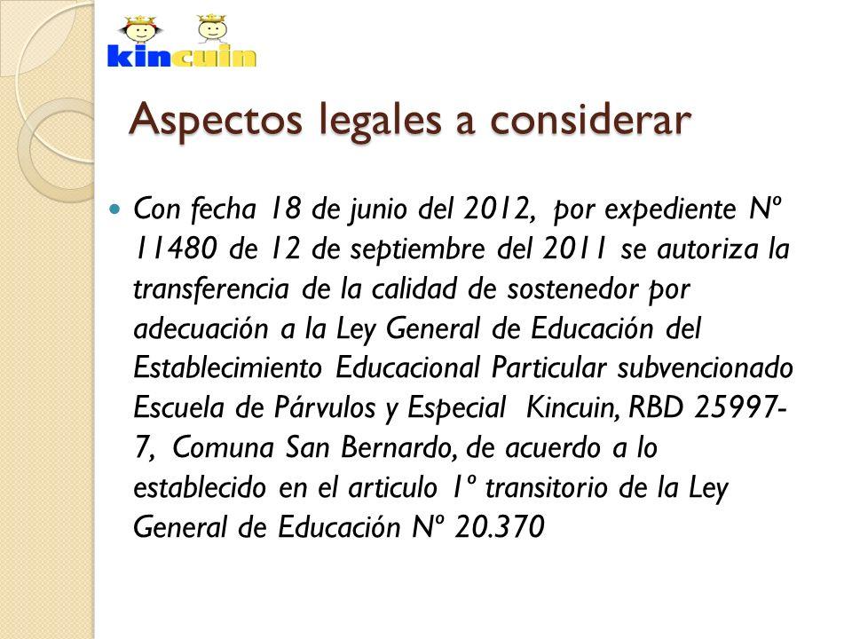 Con fecha 18 de junio del 2012, por expediente Nº 11480 de 12 de septiembre del 2011 se autoriza la transferencia de la calidad de sostenedor por adec