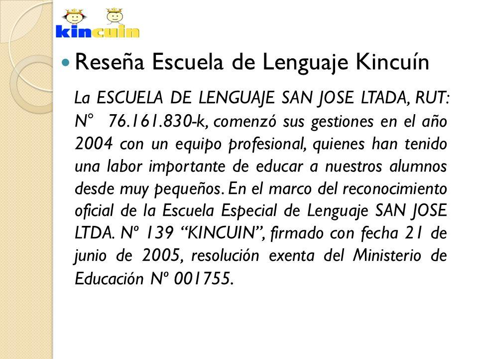 Reseña Escuela de Lenguaje Kincuín La ESCUELA DE LENGUAJE SAN JOSE LTADA, RUT: N° 76.161.830-k, comenzó sus gestiones en el año 2004 con un equipo pro