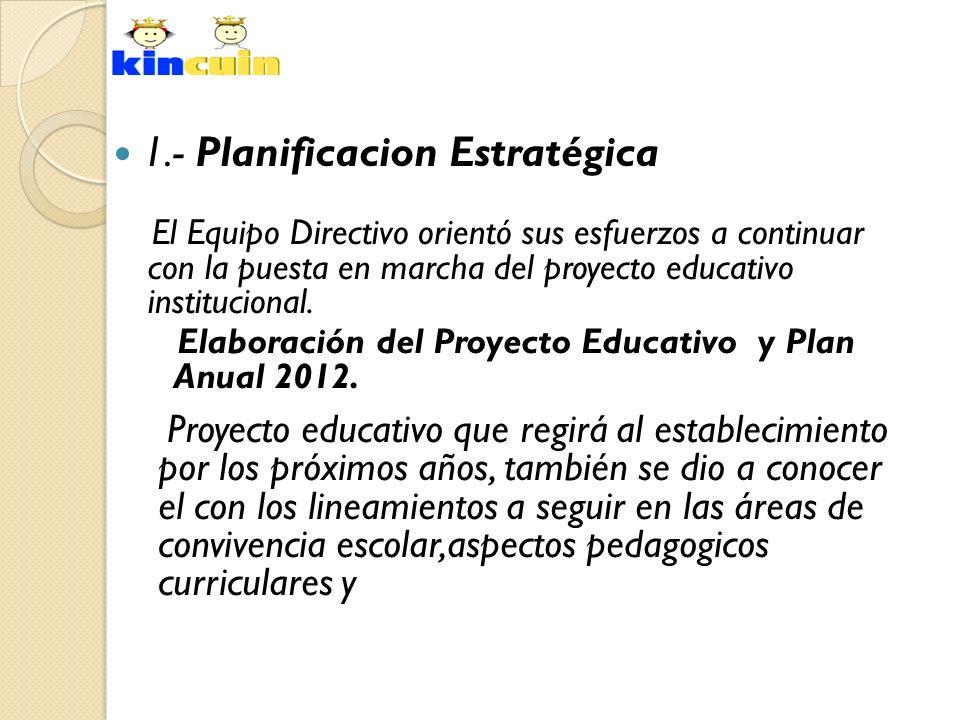1.- Planificacion Estratégica El Equipo Directivo orientó sus esfuerzos a continuar con la puesta en marcha del proyecto educativo institucional. Elab