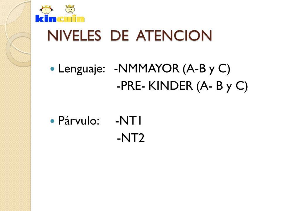 NIVELES DE ATENCION Lenguaje: -NMMAYOR (A-B y C) -PRE- KINDER (A- B y C) Párvulo: -NT1 -NT2