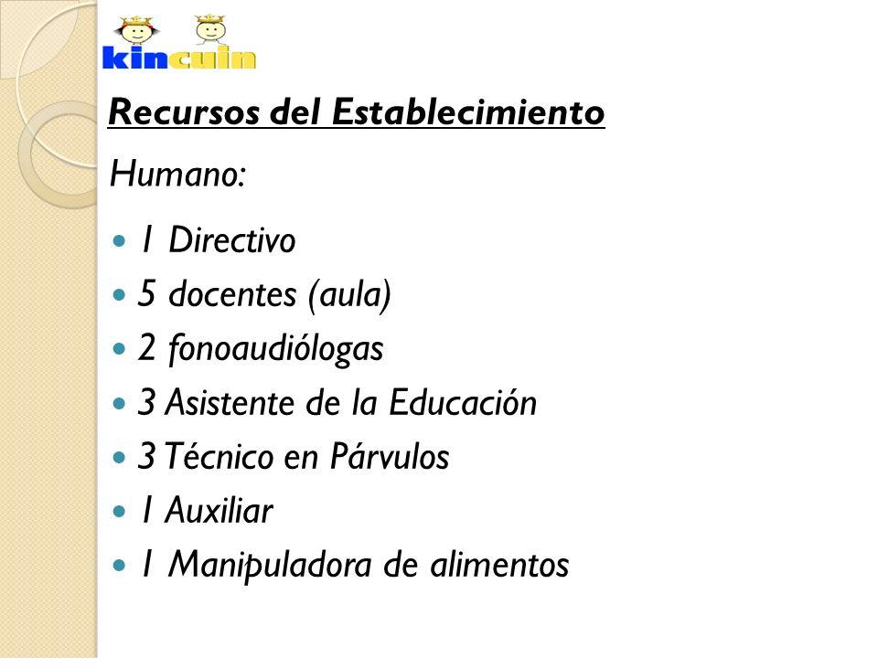 1 Directivo 5 docentes (aula) 2 fonoaudiólogas 3 Asistente de la Educación 3 Técnico en Párvulos 1 Auxiliar 1 Manipuladora de alimentos Recursos del E