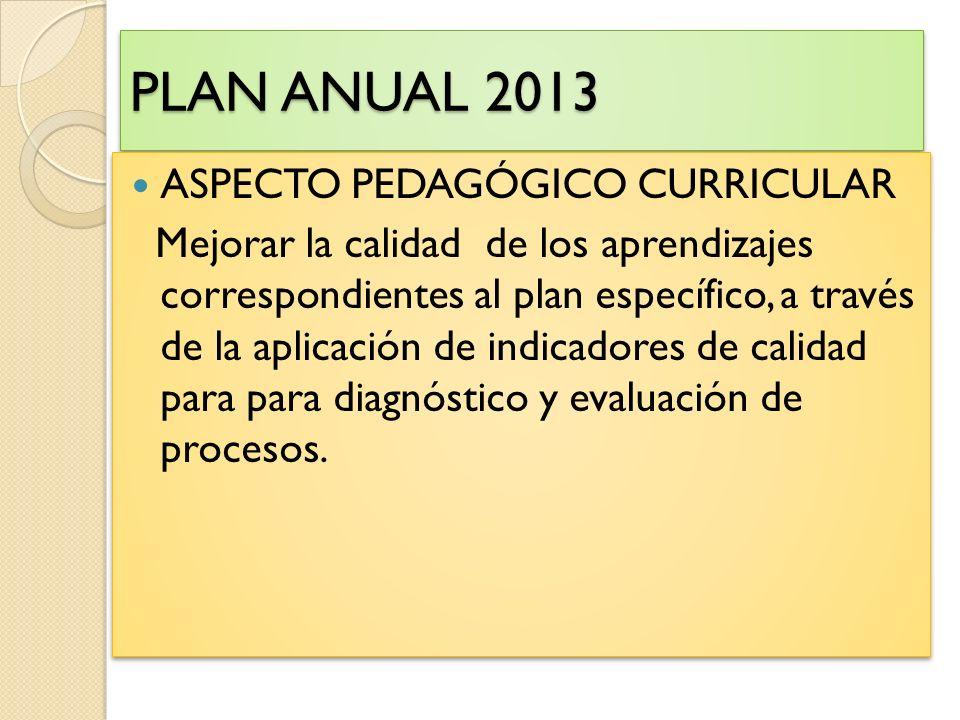 PLAN ANUAL 2013 ASPECTO PEDAGÓGICO CURRICULAR Mejorar la calidad de los aprendizajes correspondientes al plan específico, a través de la aplicación de